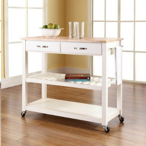 Natural Wood Top Kitchen Cart/Island With Optional Stool Storage